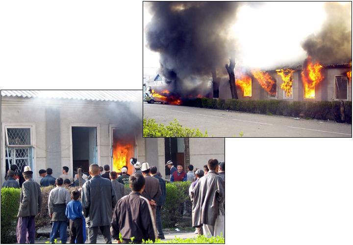 Горящий полицейский участок -- вернейшее свидетельство демократических устремлений киргизского народа