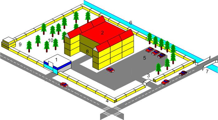 Кроме самого трехэтажного здания в наличии офиса имеется территория, обнесенная забором.  Общий план территории с...