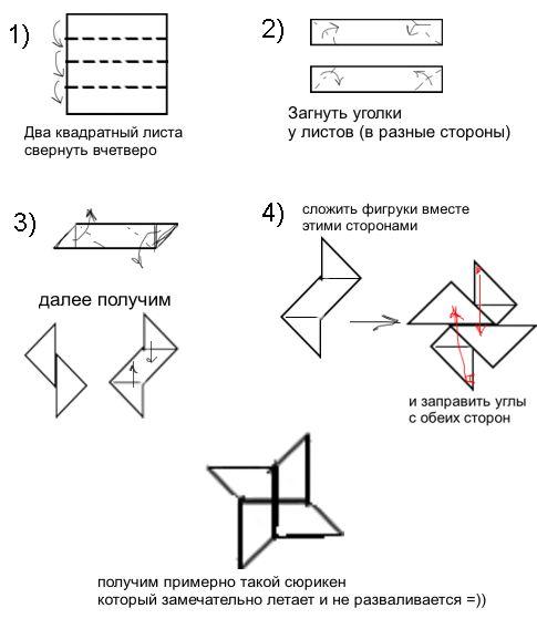 Как из бумаги сделать сюрикен своими руками из бумаги 9
