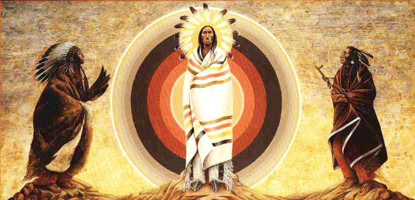 Моисей одет в шкуру буйвола, на голове убор вождя (из длинных перьев), а в руках крылья орла - знак авторитета.