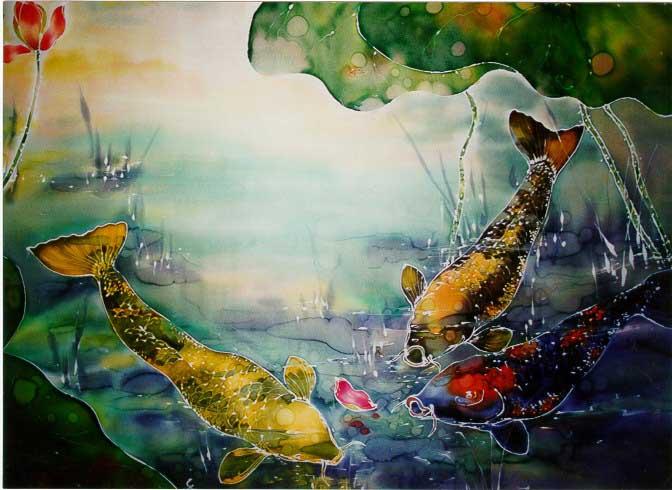 Koi Fish and Lotus Pond