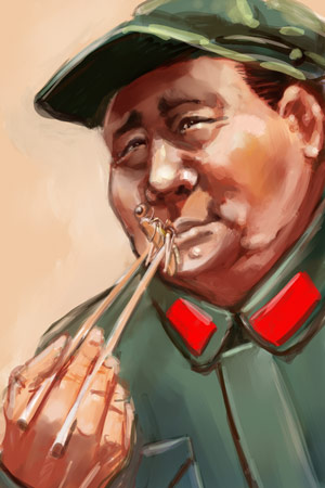 Мао ест саранчу