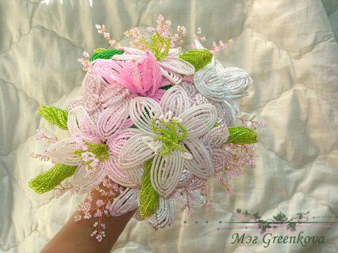 бисерные свадебные букеты.