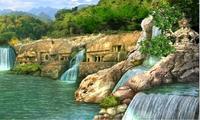 Храм среди множества водопадов