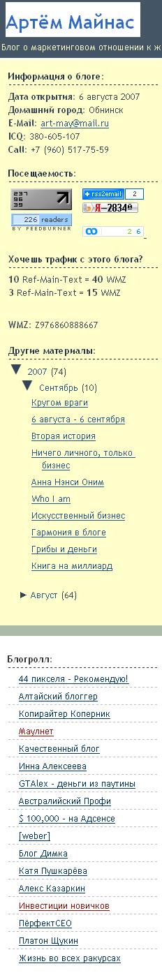Артём Майнас: результаты блога за месяц работы
