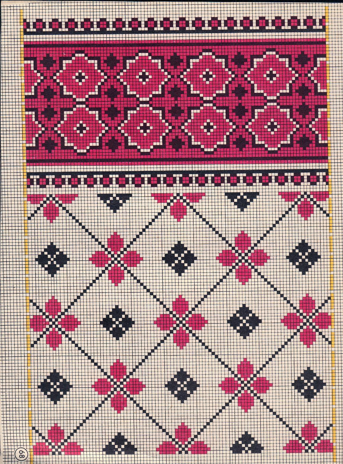 Двухцветные узоры для вышивок