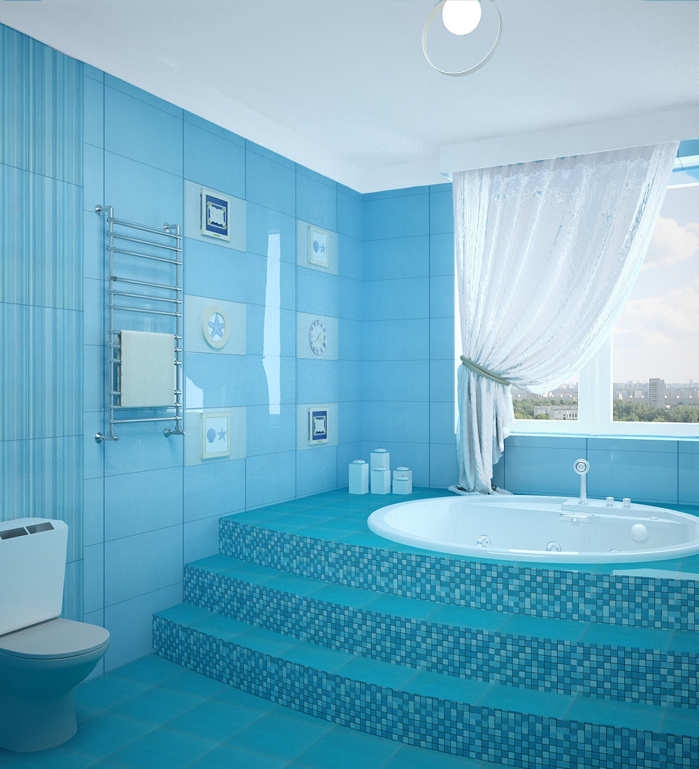 Дизайн ванны в голубых тонах фото