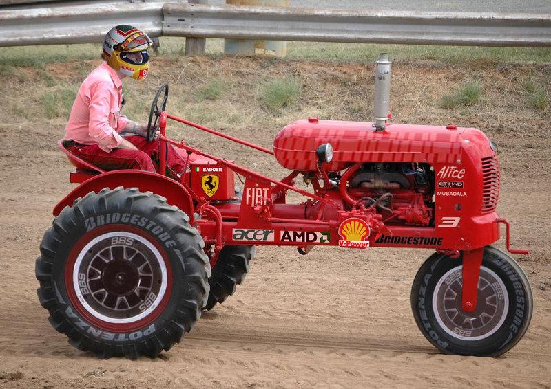 Luca Badoer drives Ferrari F60 tractor