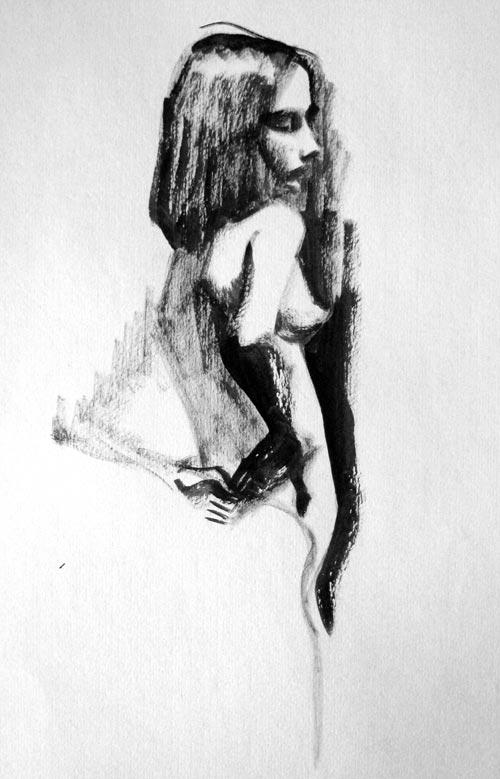 Рисунки человека тушью