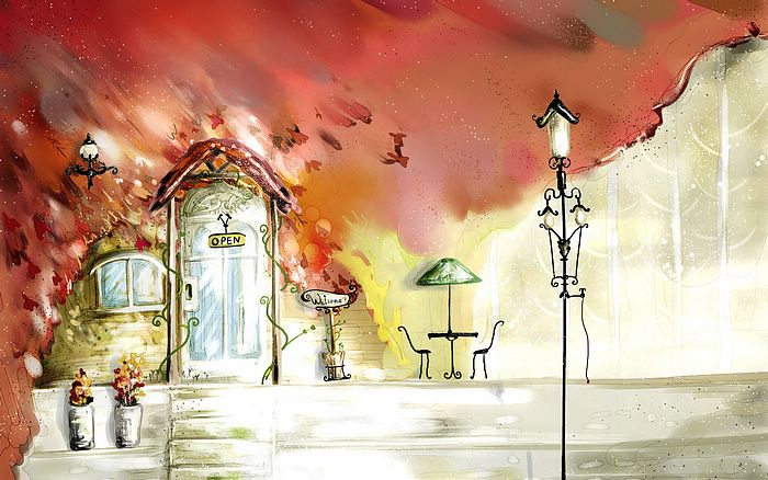 Drawing A Cafe A Lantern Wallpapers 960 x 544 Sony PS Vita.
