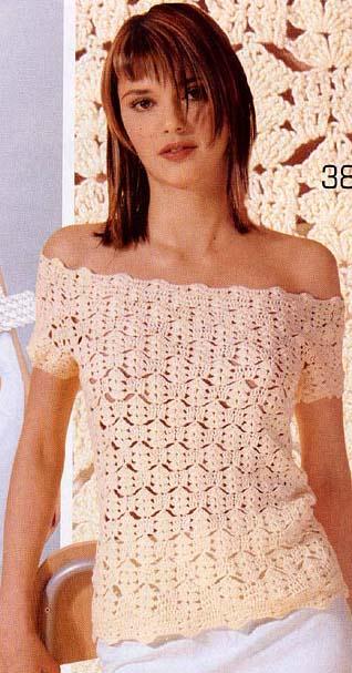 Вязание крючком кофточки с открытыми плечами.