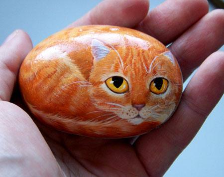 Как на рисовать кошку на камне