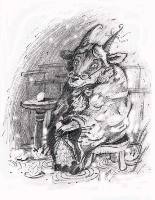 Коза в зазеркальной лавке, простой карандаш, бумага, немножко ФШ, 2009