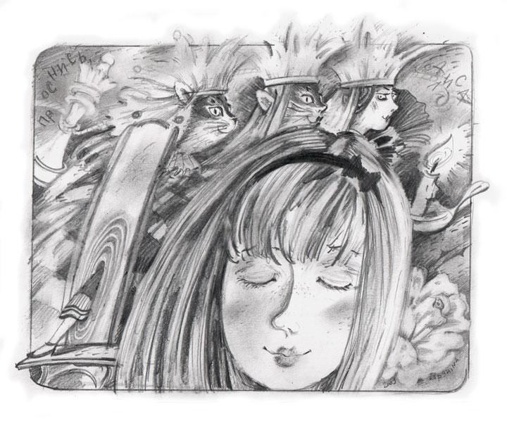 Сон Алисы, простой карандаш, бумага, 2009
