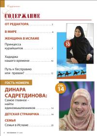 """Содержание первого номера журнала """"Мусульманка"""""""