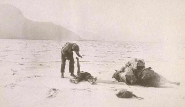 МакТиг, прикованный кандалами к мертвому грузу посреди пустыни