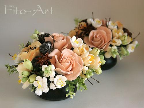 букети с цветами из полимерной глины