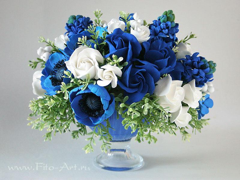 Фото открытка с синими цветами