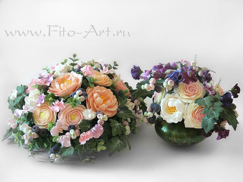 цветы из полимерной глины: пионы, белые гардении, душистый горошек, голубика
