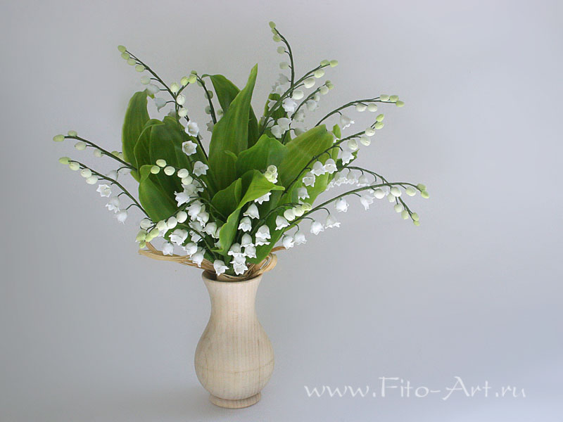 букет ландышей - цветы из полимерной глины