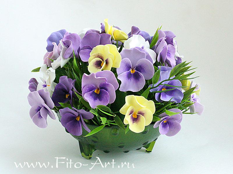 искусственные цветы из полимерной глины - анютины глазки