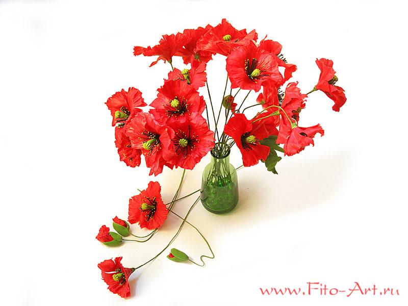 букет красных маков, мак макро, искусственные цветы из полимерной глины, керамическая флористика, decoclay, подарок на день рождения, дорогой подарок, 8 марта, полевые цветы