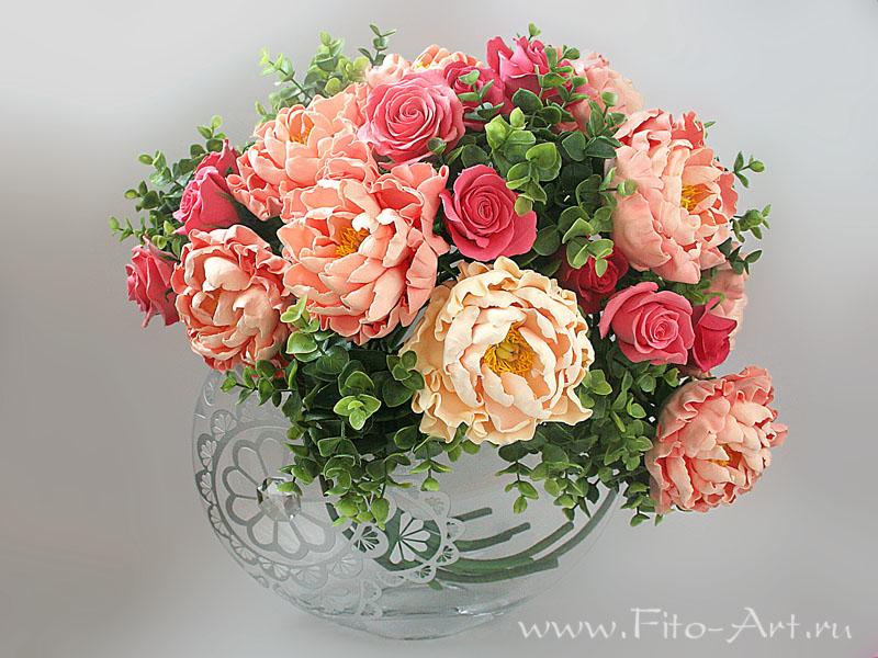 керамическая флористика, цветы из полимерной глины, букет из пионов, интерьерный букет, decoclay, холодный фарфор, цветы ручной работы, лепка из полимерной глины, цветы искусственные