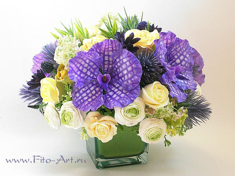 букет с орхидеями ванда - полимерная флористика