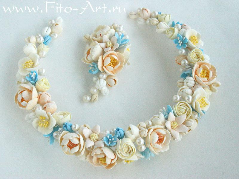 свадебные цветы - кулон и венок для невесты