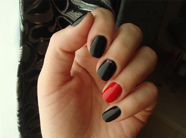 Дизайн ногтей черный с красным фото