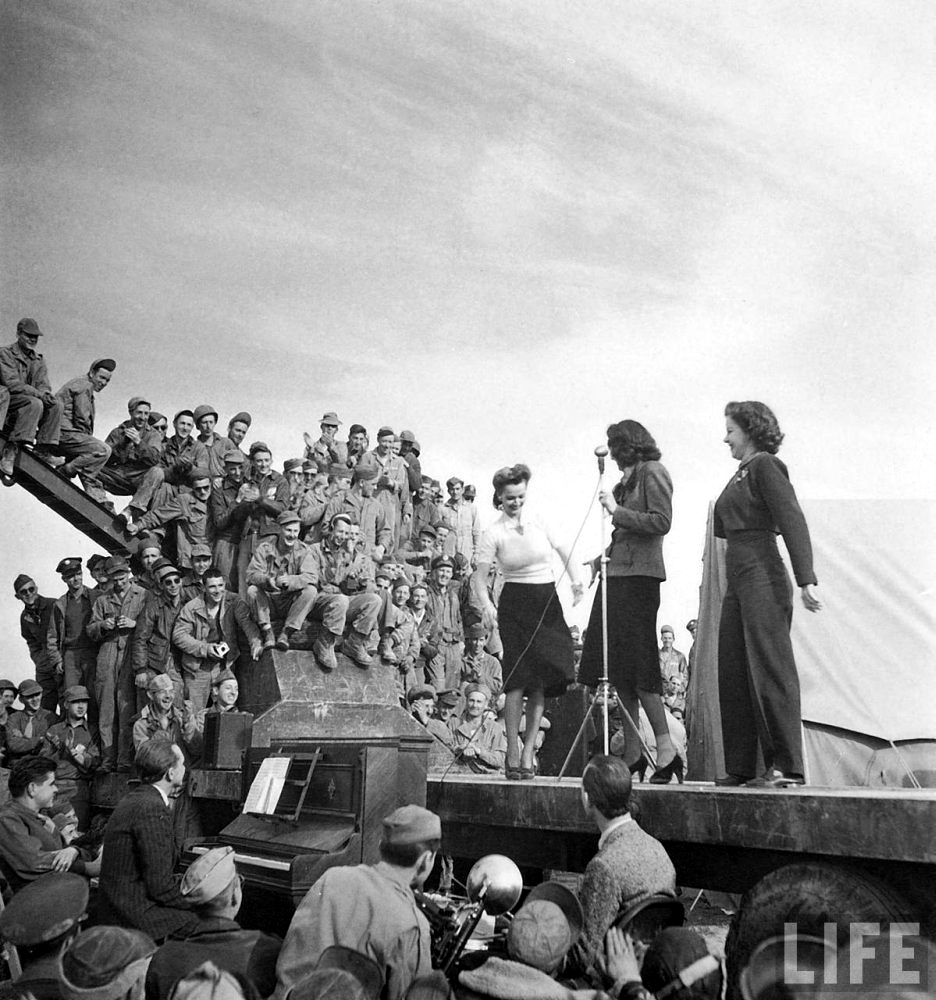 The USO in WWII Carole-Landis_-Kay-Francis_-and-Mitzi-Mayfair-in-North-Africa-1943