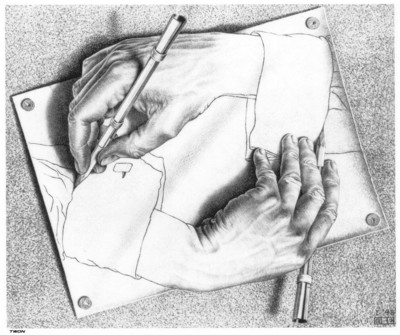 Рука рисующая руку эшер