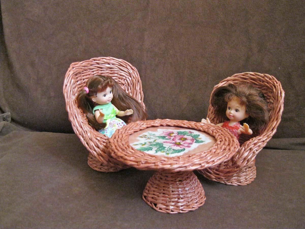 Мебель плетеная для кукол своими руками