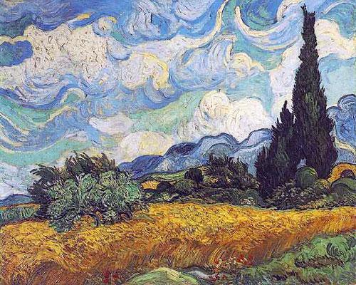 Ван Гог - Пшеничное поле с кипарисом