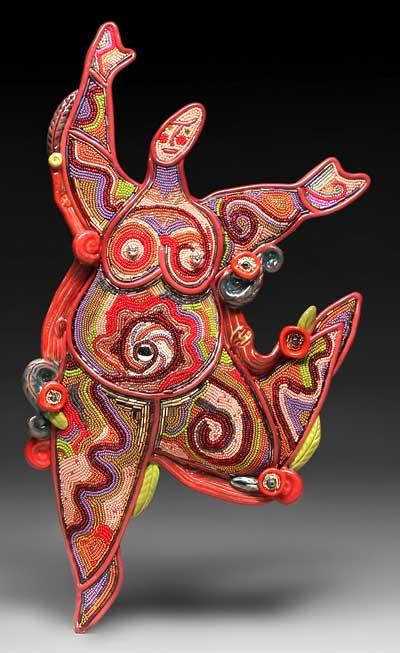 Бисер и проволока.  Рыба из полимерной глины...  Мозаичная техника.  Насекомые из бисера и проволоки.