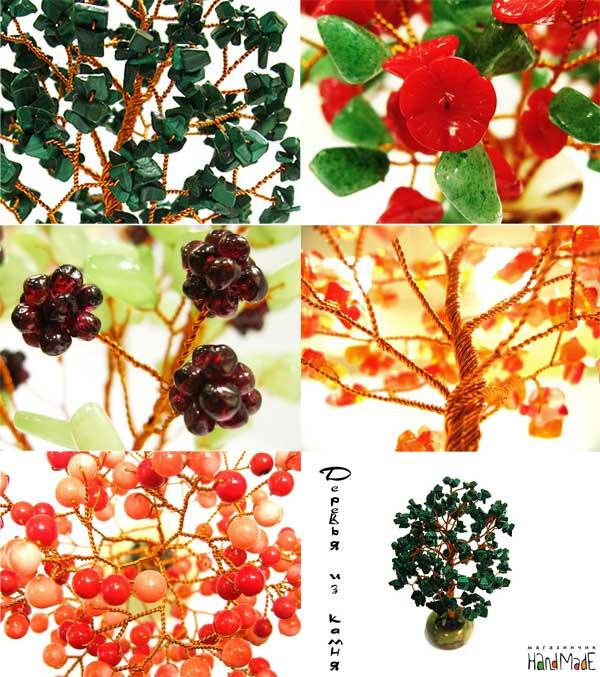 деревья и букеты из полудрагоценных камней