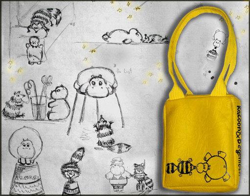 """Отличная городская сумочка с забавным рисунком  """"Енот и Бегемот """" в. 22:37."""
