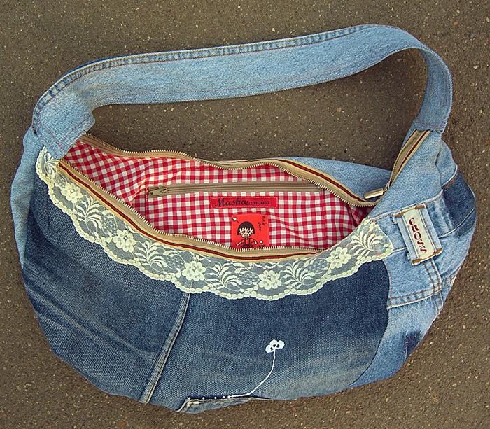 бесплатная выкройка сумки из джинсов.  По этой выкройке можно сшить.