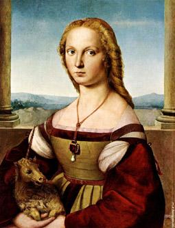Девушка с единорогом рафаэль картинка