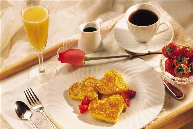 Завтрак с любимым открытки