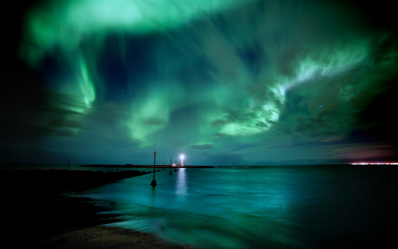 Обои рейкьявик, Исландия, ночь, свет. Города foto 16