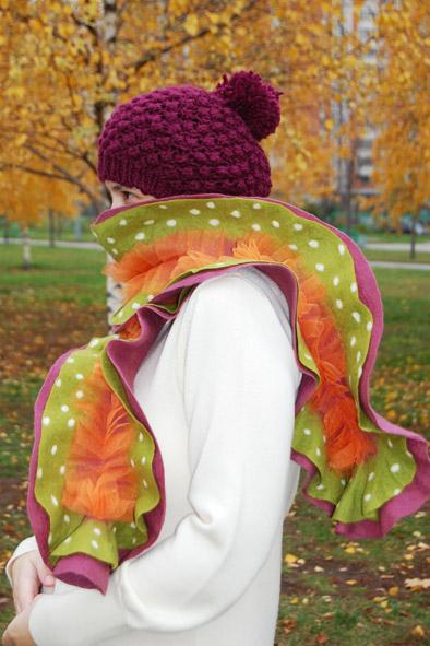 Валяные шарфы и шапочки, мастер-классы по валянию, окрашиванию тканей и...