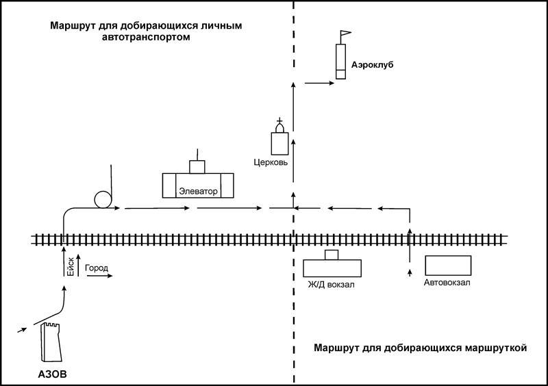 карта Азовский аэроклуб, прыжки с парашютом