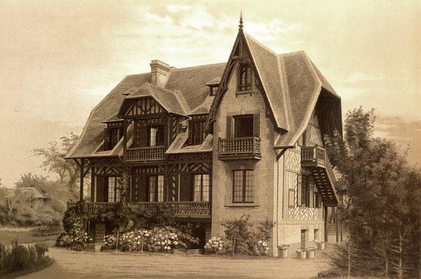 ...любой другой, в этом стиле преобладает возведение домов-замков, фото.