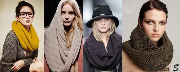 Очень актуальна крупная вязка шарфов, а так же шарфы-снуды или кольца.