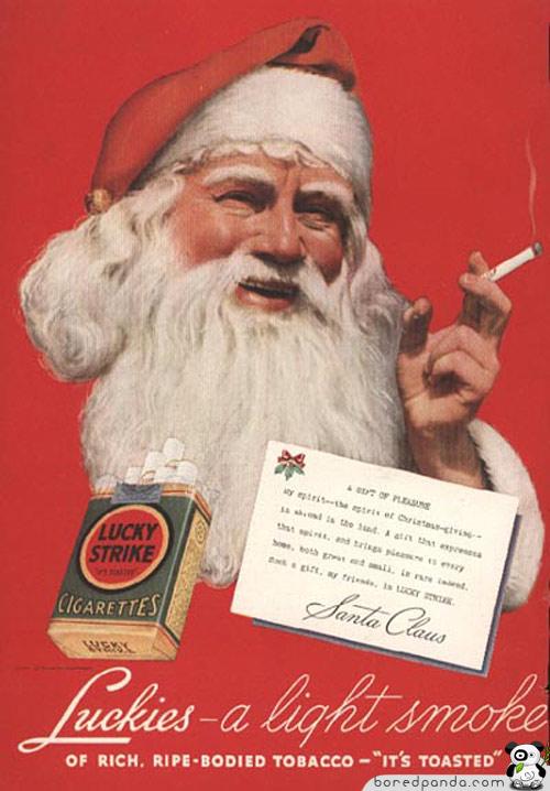 Рождественский рекламный плакат Lucky Strike.