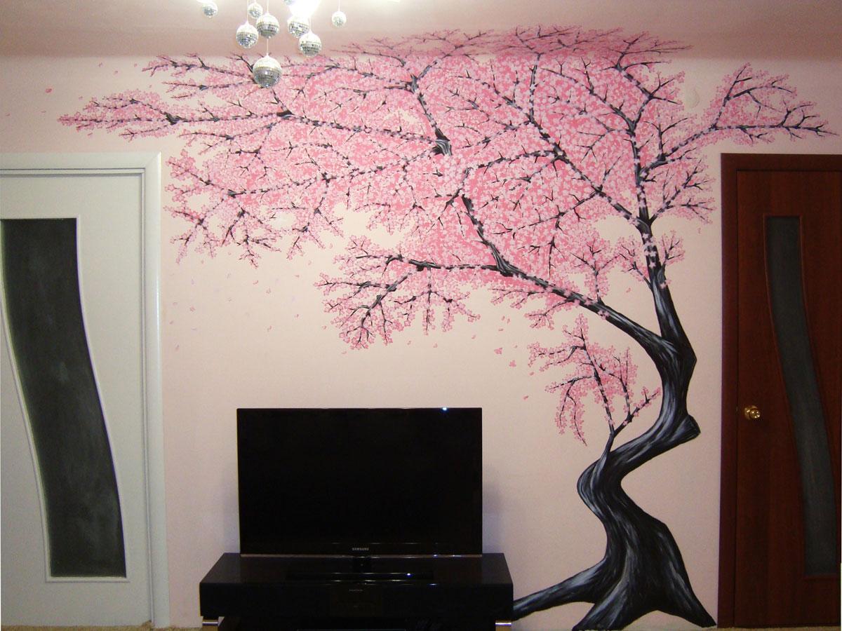 Сакуры на стену своими руками