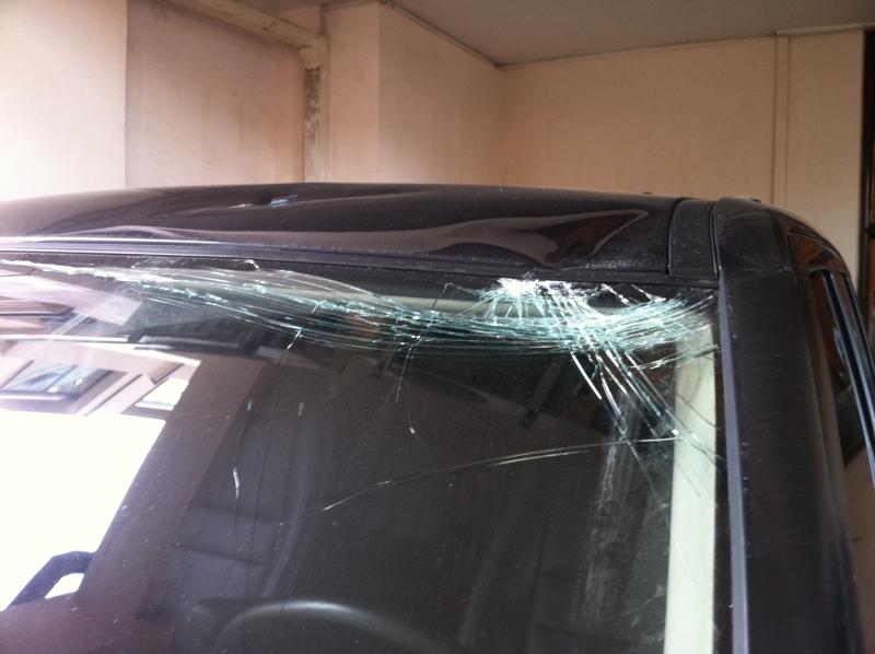 Нашисты сбросили унитаз на машину Немцова