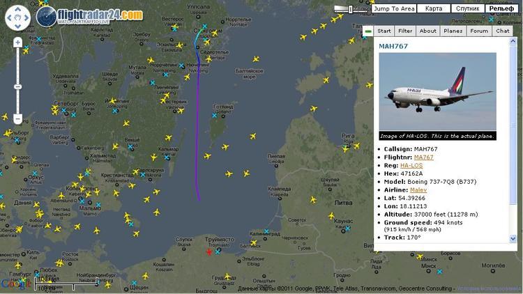 Мировая карта полетов