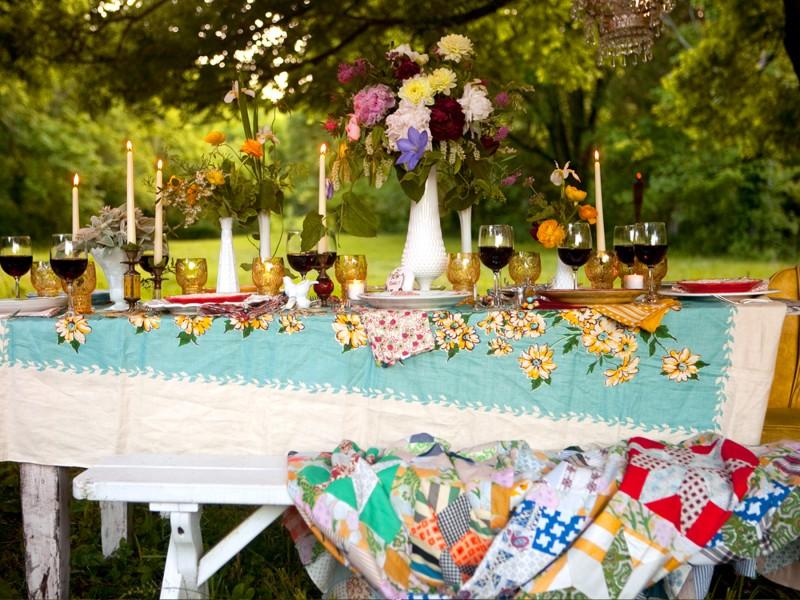 Оформление свадебного стола на даче